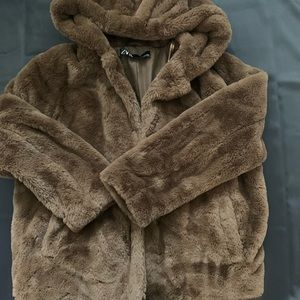 Zara Brown Fur Jacket